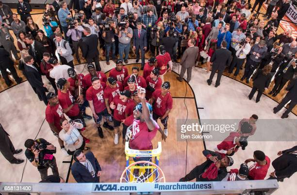 A general view of the net cutting ceremony for the South Carolina Gamecocks after beating the Florida Gators during the 2017 NCAA Men's Basketball...