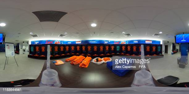 General view of the Netherlands dressing room ahead of the 2019 FIFA Women's World Cup France Semi Final match between Netherlands and Sweden at...