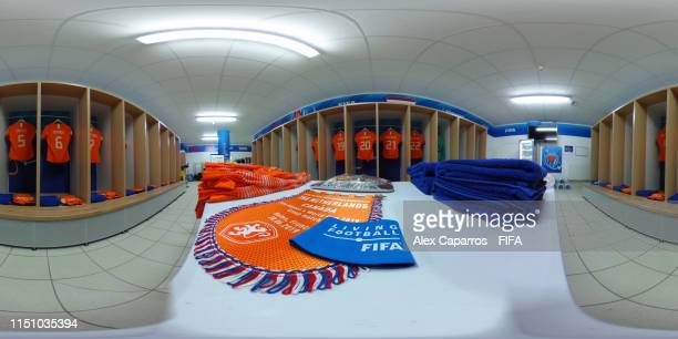 A general view of the Netherlands dressing room prior to the 2019 FIFA Women's World Cup France group E match between Netherlands and Canada at Stade...