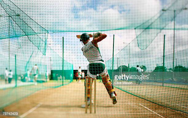A general view of the nets during an Ireland team training session at the Guyana National Stadium on March 29 2007 in Providence Guyana