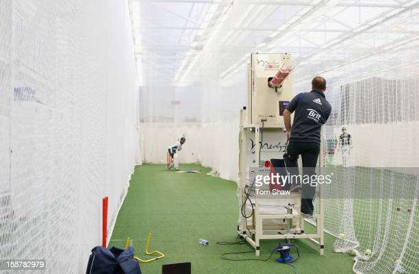 General view of the nets during the ECB England Performance Programme Training session at Loughborough University on November 8, 2012 in...