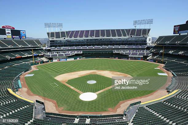 General view of the Network Associates Coliseum, home of the Oakland Athletics, on July 21, 2004 in Oakland, California.