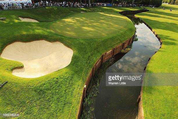 General view of the new 18th green and water hazard during the first round of the BMW PGA Championship on the West Course at Wentworth on May 20 2010...