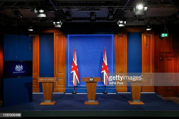 General view of the new £2.6million No9 briefing room ahead of an update by Britain's Prime Minister Boris Johnson on the coronavirus Covid-19...