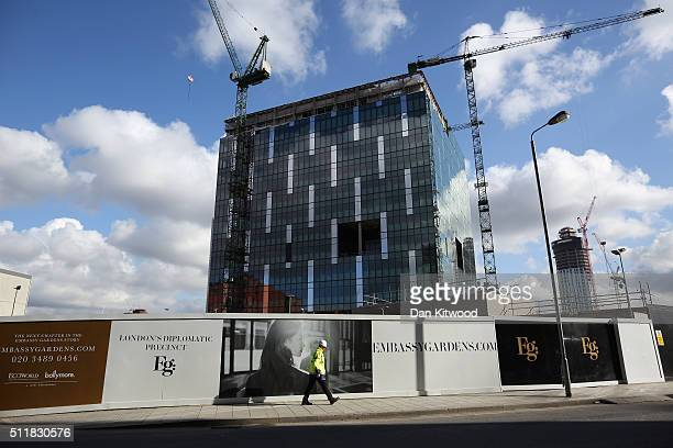 A general view of the new American Embassy in the Embassy Gardens luxury residential development in Battersea where construction continues on...