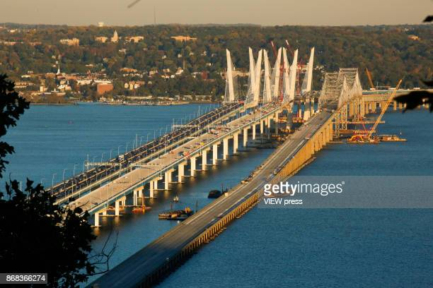 General view of the new and the old Tappan Zee Bridge on October 27 2017 in South Nyack New York Tolls on the new Tappan Zee Bridge may have to hit...