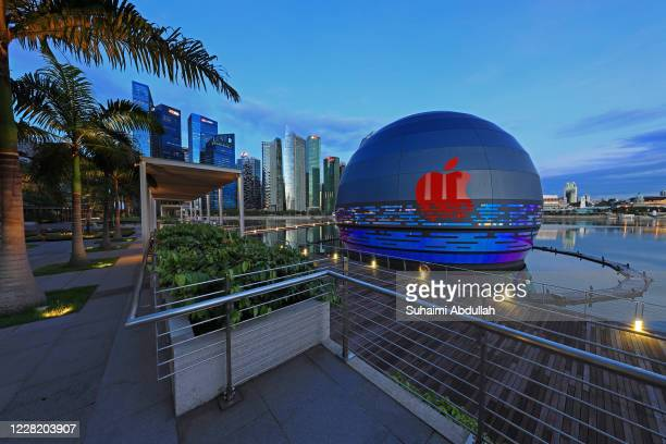 General view of the new Apple flagship store at Marina Bay Sands waterfront on August 26, 2020 in Singapore. The store located in a futuristic giant...