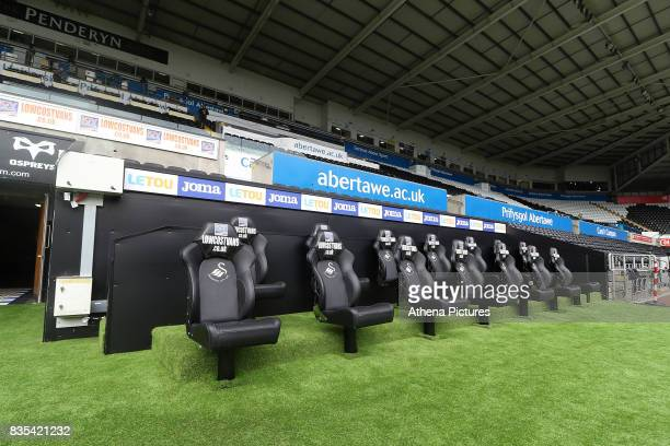 A general view of the new away dugout by the tunnel of the Liberty Stadium prior to kick off of the Premier League match between Swansea City and...