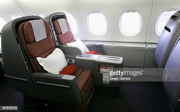 A general view of the new business class seats onboard the new Qantas A380 flagship the 'NancyBird Walton' as she joins the Qantas fleet at Sydney...