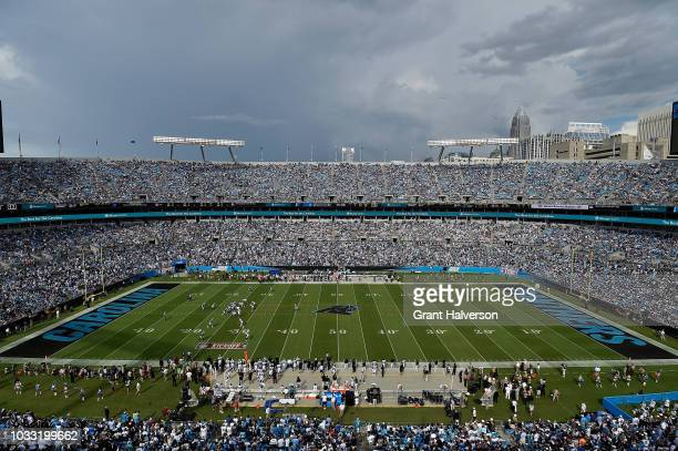General view of the new Carolina Panthers logo at midfield of Bank of America Stadium during the game between the Carolina Panthers and the Dallas...