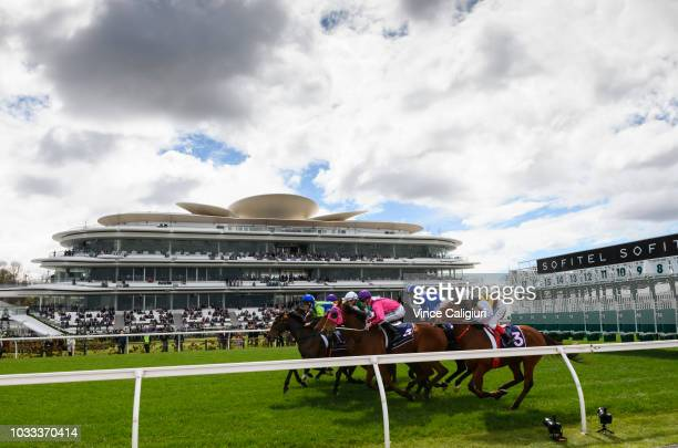General view of the new Club Stand at the start of Race 1 during Melbourne racing at Flemington Racecourse on September 15 2018 in Melbourne Australia