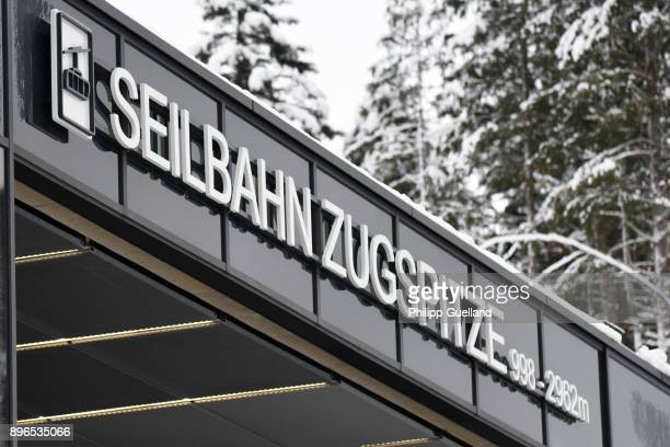A general view of the new 'Eibsee Seilbahn' cable car connection Zugspitze peak on the system's inauguration day on December 21 2017 in Grainau...