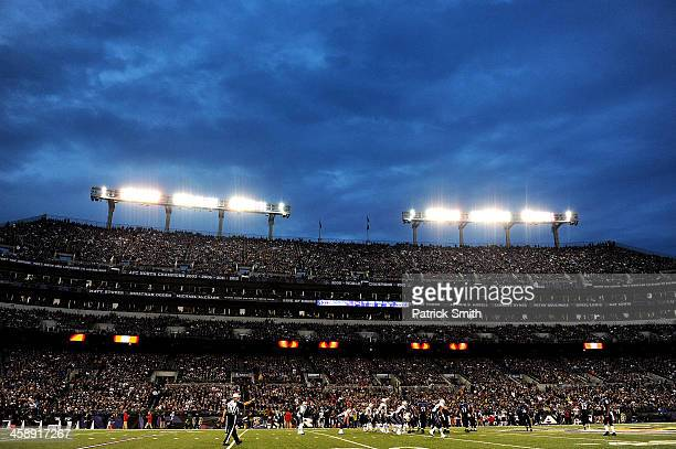 A general view of the New England Patriots against the Baltimore Ravens at MT Bank Stadium on December 22 2013 in Baltimore Maryland