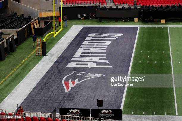 General View of the New England Patriots end zone Logo on the Field inside Mercedes Benz Stadium during Super Bowl LIII week on January 28 2019 in...