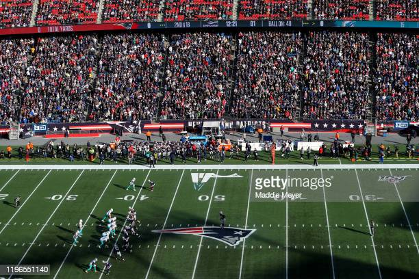 General view of the New England Patriots lined up against the Miami Dolphins in the first quarter at Gillette Stadium on December 29, 2019 in...