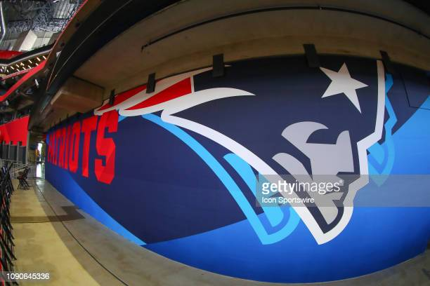 General View of the New England Patriots logo inside of Mercedes Benz Stadium during Super Bowl LIII week on January 28 2019 in Atlanta GA