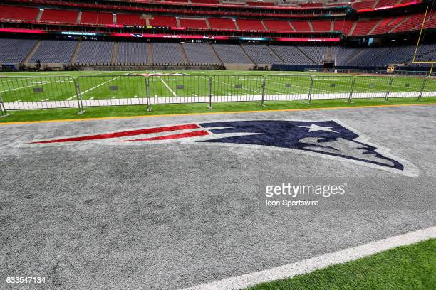 A general view of the New England Patriots sideline inside NRG Stadium on January 31 in Houston Texas