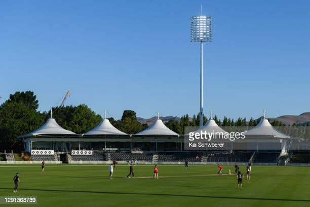General view of the new floodlights at Hagley Oval during the ICC Women's Cricket World Cup 2022 match schedule announcement at Hagley Oval on...