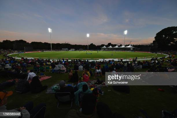 General view of the new floodlights at Hagley Oval during the Super Smash T20 match between the Canterbury Kings and the Central Stags at Hagley Oval...