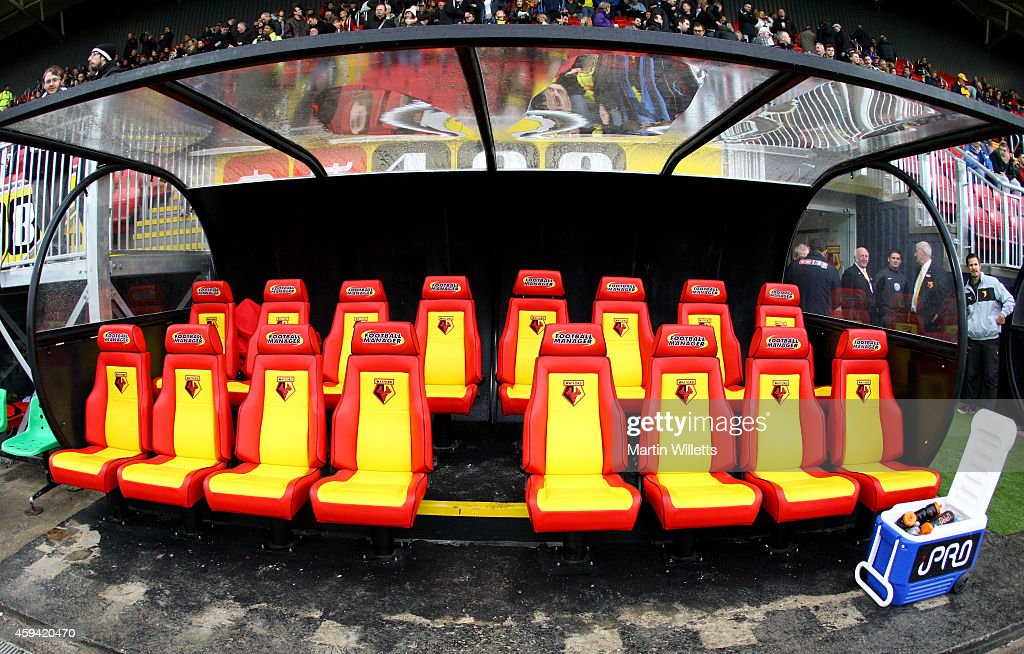 A General View of the new home dugout prior to the Sky Bet Championship match between Watford and Derby County at Vicarage Road on November 22, 2014 in Watford, England.