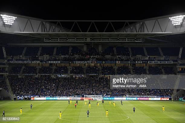A general view of the new home of Gamba Osaka the Suita City Football Stadium during the JLeague match between Gamba Osaka and Kashiwa Reysol at the...