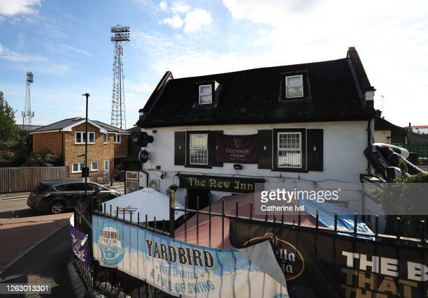 General view of The New Inn pub on the corner of the stadium ahead of the Sky Bet Championship Play Off Semifinal 2nd Leg match between Brentford and...