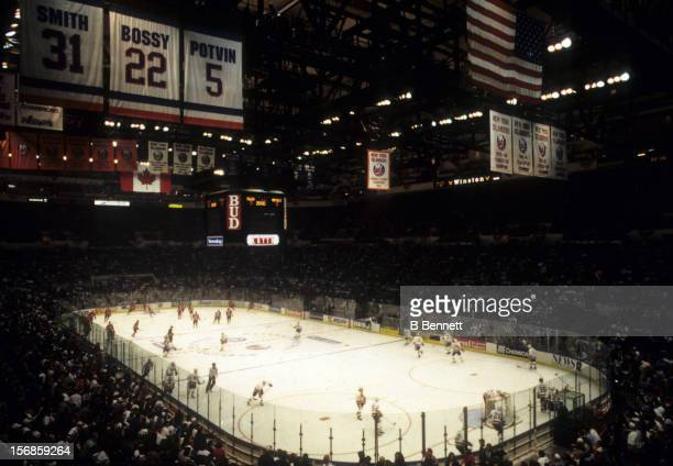 General view of the New Jersey Devils and the New York Islanders game circa 1990's at the Nassau Coliseum in Uniondale New York