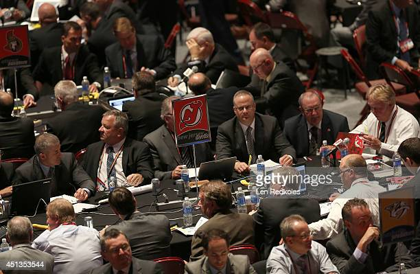 A general view of the New Jersey Devils draft table during the 2014 NHL Entry Draft at Wells Fargo Center on June 27 2014 in Philadelphia Pennsylvania