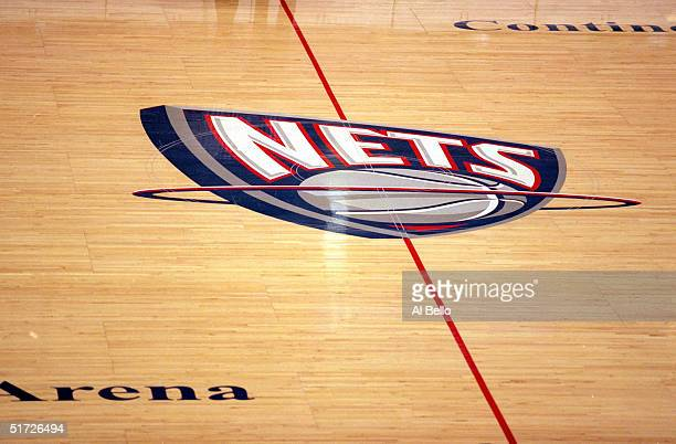 A general view of the New Jersey Nets logo on the center court during a game between the New Jersey Nets and the Portland Trail Blazers at the...