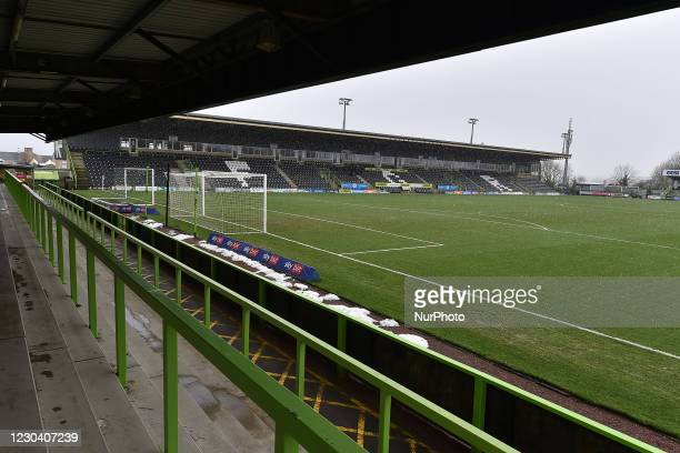 General view of The New Lawn before the Sky Bet League 2 match between Forest Green Rovers and Oldham Athletic at The New Lawn, Nailsworth on...