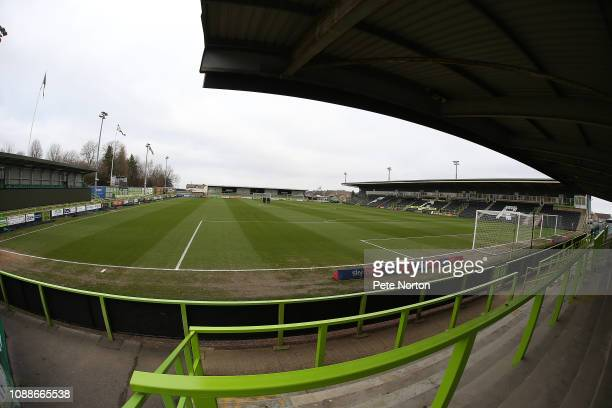 A general view of The New Lawn prior to the Sky Bet League Two match between Forest Green Rovers and Northampton Town at The New Lawn on January 01...