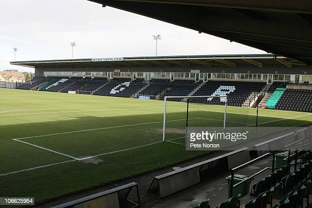A general view of The New Lawn the home of Forest Green Rovers prior to the FA Cup sponsored by EON first round match between Forest Green Rovers and...