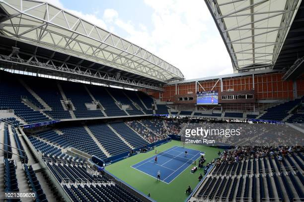 General view of the new Louis Armstrong Stadium during an exhibition match after Louis Armstrong Stadium Dedication Ceremony at USTA Billie Jean King...