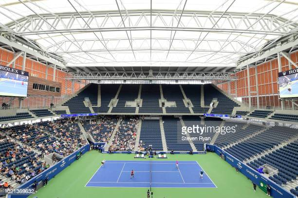 A general view of the new Louis Armstrong Stadium during an exhibition match after Louis Armstrong Stadium Dedication Ceremony at USTA Billie Jean...
