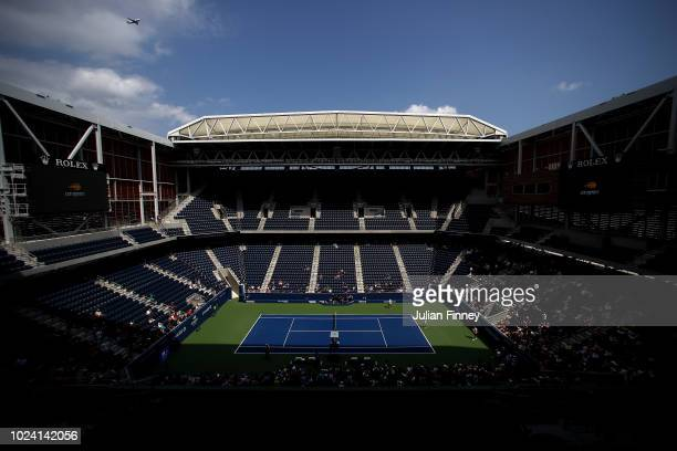 General view of the new Louis Armstrong Stadium during previews for the US Open at USTA Billie Jean King National Tennis Center on August 26, 2018 in...