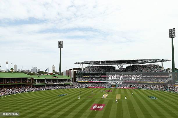 A general view of the new M A Noble Stand and Don Bradman Stand during day one of the Fifth Ashes Test match between Australia and England at Sydney...