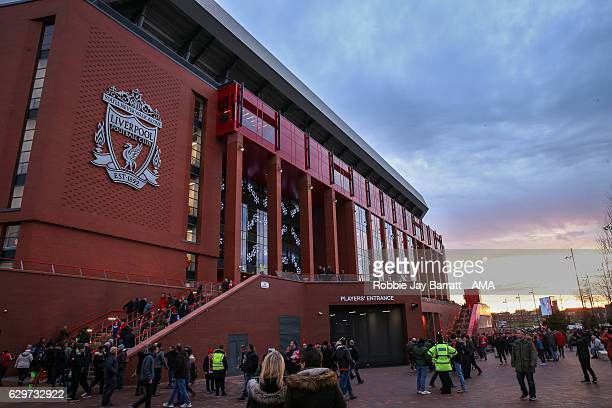 A general view of the new main stand exterior outside Anfield the home stadium of Liverpool during the Premier League match between Liverpool and...