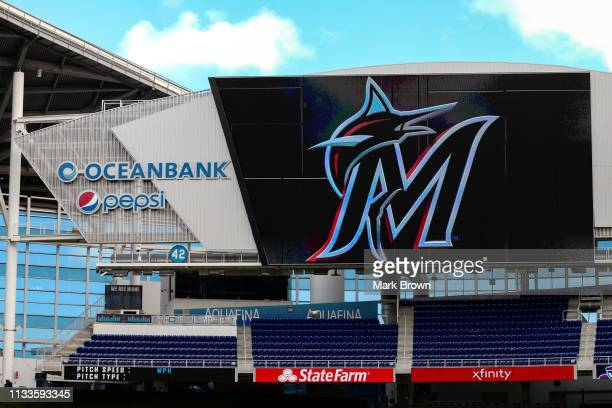 General view of the new Marlins logo on the scoreboard at Marlins Park prior to the game between the Miami Marlins and the Colorado Rockies at...