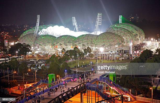General view of the new Melbourne Rectangular Stadium, AAMI Stadium as seen from the MCG during the round seven AFL match between the Melbourne...