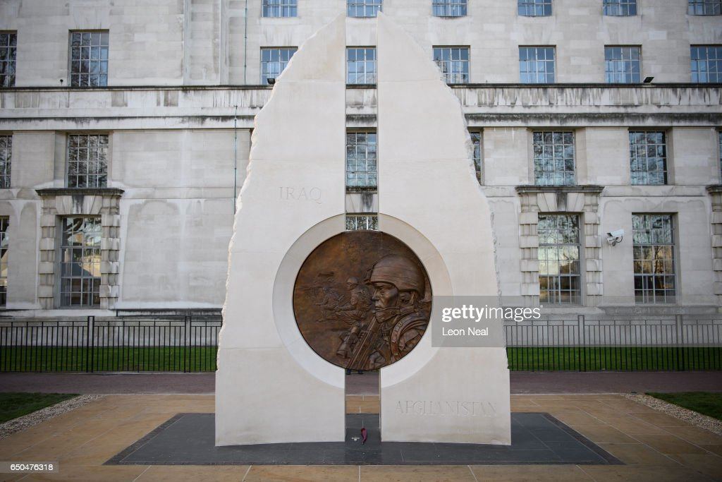 A general view of the new memorial to men and women from the UK Armed Forces and civilians who served their country in the Gulf region, Iraq and Afghanistan from 1990 - 2015, after it was unveiled by Her Majesty The Queen at Victoria Embankment Gardens on March 9, 2017 in London, England. Designed by Paul Day, the monument features two large stones, representing Iraq and Afghanistan, linked by a two-sided bronze medalion depicting the theme of duty and service.