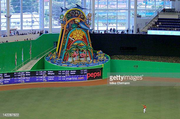 A general view of the new Miami Marlins Park during a preseason game against the New York Yankees during a game at Marlins Park on April 1 2012 in...