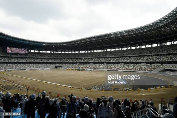 General view of the new National Stadium during a media tour of Tokyo 2020 Olympic venues on July 03, 2019 in Tokyo, Japan.