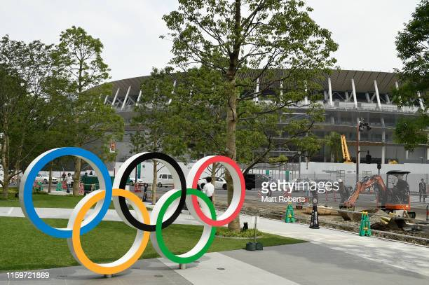 General view of the new National Stadium prior to a media tour of Tokyo 2020 Olympic venues on July 03, 2019 in Tokyo, Japan.