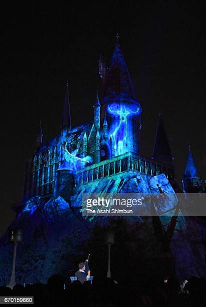 A general view of the new night show of the Harry Potter area during the press preview at the Universal Studios Japan on April 18 2017 in Osaka Japan