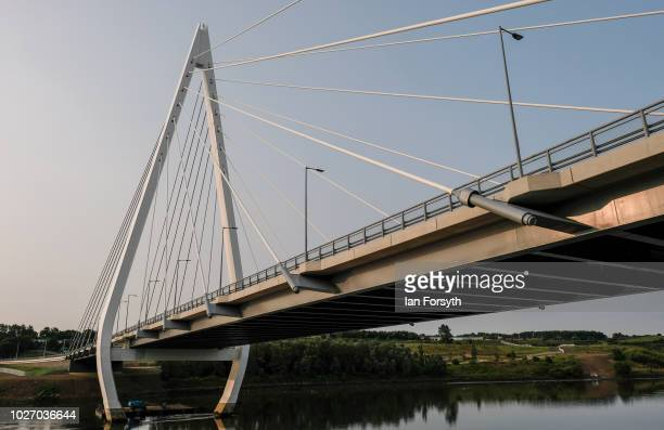 General view of the new Northern Spire bridge spanning the River Wear on the day that it opens for a pedestrian walkover on August 28 2018 in...