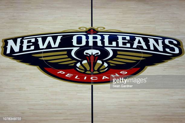 A general view of the New Orleans Pelicans logo on the court at the Smoothie King Center on December 05 2018 in New Orleans Louisiana NOTE TO USER...