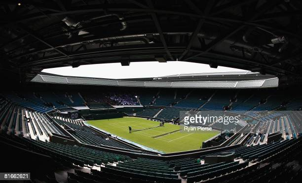 A general view of the new roof on Centre Court before the Wimbledon Lawn Tennis Championships at the All England Lawn Tennis and Croquet Club on June...