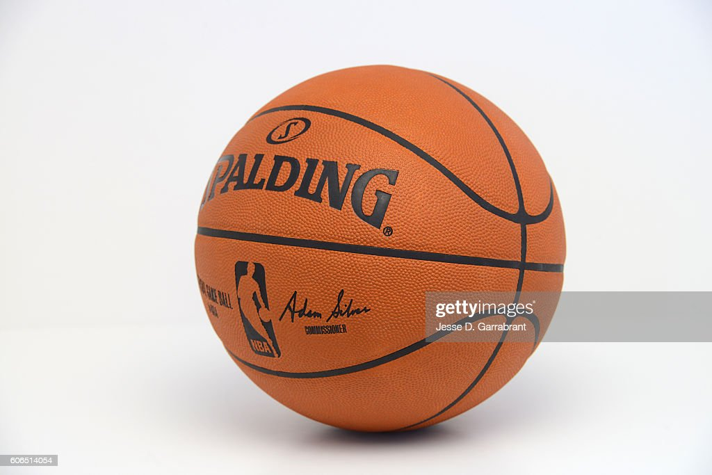 A general view of the new Spalding NBA ball with the social @NBA handle to be used for the 2015 Season taking on July 18, 2014 at Point Pleasant, New Jersey.
