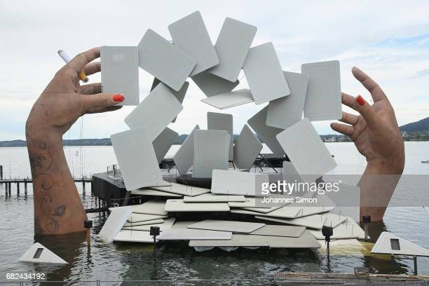 General view of the new stage for the Bregenz Festival on May 12, 2017 in Bregenz, Austria. Every two years the Bregenz summer festival rebuilds the...