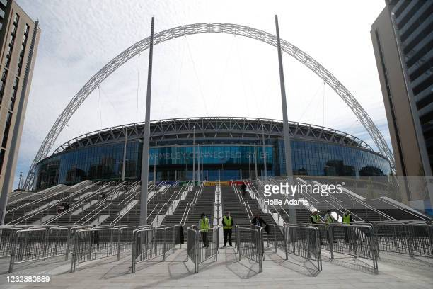 General view of the new steps at Wembley Stadium on April 18, 2021 in London, England. 4000 local residents have been permitted to attend the match...